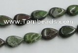 CBG08 15.5 inches 8*12mm flat teardrop bronze green gemstone beads