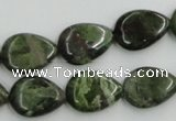 CBG09 15.5 inches 13*18mm flat teardrop bronze green gemstone beads
