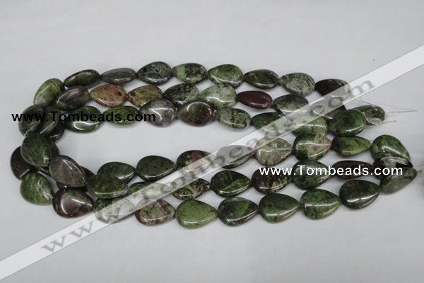 CBG10 15.5 inches 15*20mm flat teardrop bronze green gemstone beads