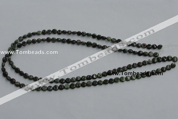 CBG11 15.5 inches 6mm flat round bronze green gemstone beads