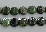 CBG12 15.5 inches 8mm flat round bronze green gemstone beads