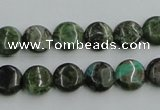 CBG14 15.5 inches 10mm flat round bronze green gemstone beads