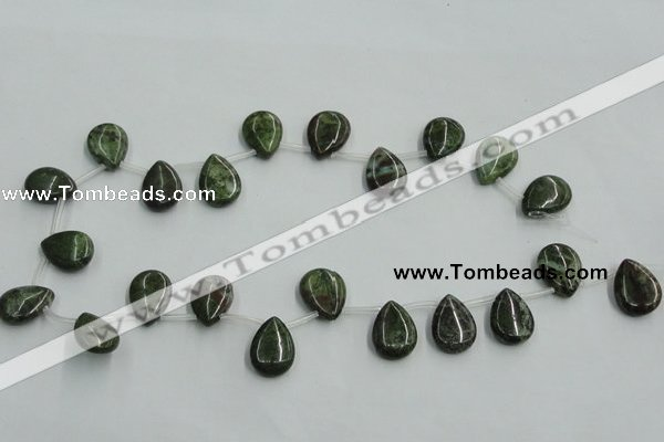 CBG21 13*18mm top-drilled flat teardrop bronze green gemstone beads