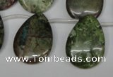 CBG24 Top-drilled 22*30mm flat teardrop bronze green gemstone beads