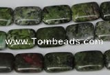 CBG45 15.5 inches 10*14mm rectangle bronze green gemstone beads