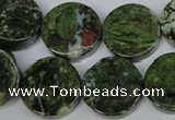 CBG63 15.5 inches 22mm coin bronze green gemstone beads