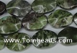 CBG65 15.5 inches 13*18mm wavy oval bronze green gemstone beads