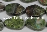 CBG67 15.5 inches 18*25mm wavy teardrop bronze green gemstone beads