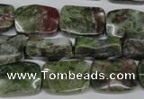 CBG69 15.5 inches 13*18mm wavy rectangle bronze green gemstone beads