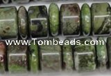 CBG82 15.5 inches 6*18mm & 11*18mm rondelle bronze green gemstone beads