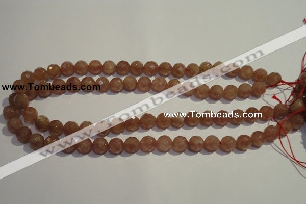 CBQ10 15.5 inches 10mm faceted round strawberry quartz beads