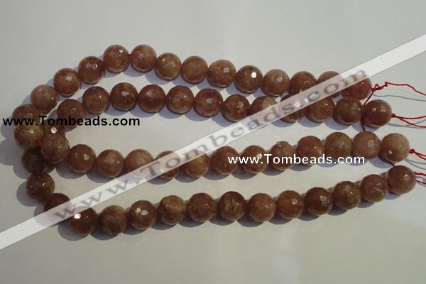CBQ12 15.5 inches 14mm faceted round strawberry quartz beads