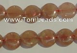 CBQ16 15.5 inches 12mm flat round strawberry quartz beads wholesale
