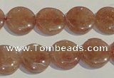 CBQ17 15.5 inches 14mm flat round strawberry quartz beads wholesale