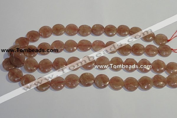 CBQ18 15.5 inches 16mm flat round strawberry quartz beads wholesale