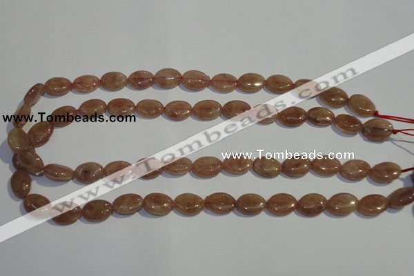 CBQ20 15.5 inches 10*14mm oval strawberry quartz beads wholesale