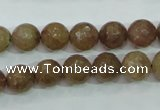 CBQ213 15.5 inches 10mm faceted round strawberry quartz beads