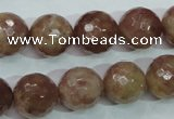CBQ215 15.5 inches 14mm faceted round strawberry quartz beads