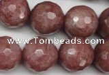CBQ217 15.5 inches 18mm faceted round strawberry quartz beads