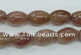 CBQ226 15.5 inches 10*14mm rice strawberry quartz beads