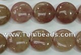 CBQ236 15.5 inches 15mm flat round strawberry quartz beads