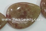 CBQ239 15.5 inches 30*40mm flat teardrop strawberry quartz beads