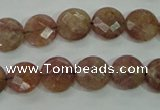 CBQ241 15.5 inches 10mm faceted coin strawberry quartz beads
