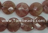 CBQ244 15.5 inches 16mm faceted coin strawberry quartz beads