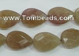 CBQ260 15.5 inches 13*18mm faceted flat teardrop strawberry quartz beads