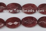 CBQ278 15.5 inches 13*18mm faceted oval strawberry quartz beads