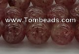 CBQ304 15.5 inches 12mm round naturastrawberry quartz beads