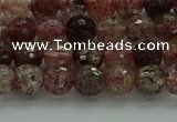 CBQ321 15.5 inches 6mm faceted round strawberry quartz beads