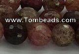 CBQ324 15.5 inches 12mm faceted round strawberry quartz beads