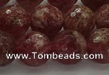 CBQ334 15.5 inches 12mm faceted round strawberry quartz beads