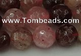 CBQ414 15.5 inches 12mm faceted round strawberry quartz beads