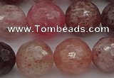 CBQ415 15.5 inches 14mm faceted round strawberry quartz beads