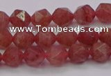 CBQ431 15.5 inches 6mm faceted nuggets strawberry quartz beads