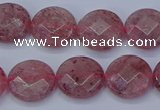 CBQ459 15.5 inches 10mm faceted coin strawberry quartz beads