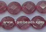 CBQ460 15.5 inches 12mm faceted coin strawberry quartz beads