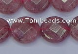 CBQ461 15.5 inches 14mm faceted coin strawberry quartz beads