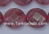 CBQ463 15.5 inches 18mm faceted coin strawberry quartz beads