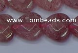 CBQ470 15.5 inches 14mm faceted heart strawberry quartz beads