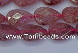 CBQ476 15.5 inches 10*14mm faceted flat teardrop strawberry quartz beads