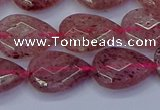 CBQ477 15.5 inches 12*16mm faceted flat teardrop strawberry quartz beads