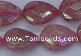 CBQ479 15.5 inches 15*20mm faceted flat teardrop strawberry quartz beads