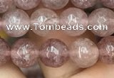 CBQ572 15.5 inches 8mm faceted round strawberry quartz beads