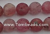 CBQ663 15.5 inches 12mm round matte strawberry quartz beads