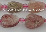 CBQ668 15.5 inches 8*12mm flat teardrop matte strawberry quartz beads