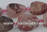 CBQ670 15.5 inches 12*16mm flat teardrop matte strawberry quartz beads