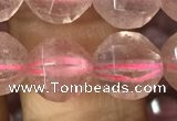 CBQ692 15.5 inches 10mm faceted round strawberry quartz beads